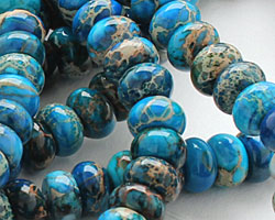 Teal Impression Jasper Rondelle 8mm