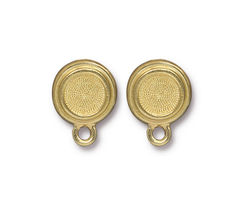 TierraCast Gold (plated) Stepped Bezel Ear Post 12x17mm