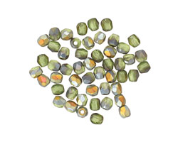 Czech Glass Matte Olivine AB Fire Polished Round 3mm