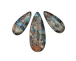 Teal Impression Jasper & Pyrite Pendant Set 21x50mm, 15x34mm