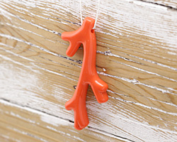 Coral Acrylic Coral Branch Pendant 41x70mm