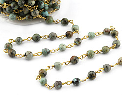 African Turquoise Round 6mm Brass Bead Chain