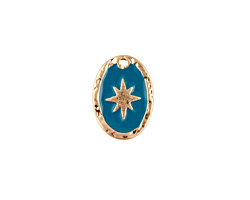 Zola Elements Peacock Enamel Matte Gold Finish Starburst Oval Focal 11x15mm