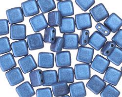 CzechMates Glass Blue Metallic Suede 2-Hole Tile 6mm