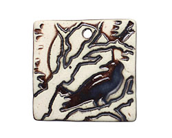 Earthenwood Studio Ceramic Square Raven Pendant 36mm