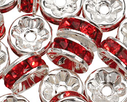 Silver (plated) Siam Ruby Rhinestone Rondelle 8mm