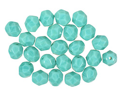 Czech Fire Polished Glass Opaque Turquoise Round 6mm