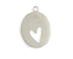Vintaj Antique Sterling Silver (plated) Organic Oval Heart Blank 26x35mm
