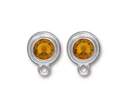 TierraCast Rhodium (plated) Stepped Bezel Ear Post w/ Topaz Crystal 12x17mm