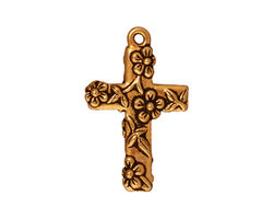 TierraCast Antique Gold (plated) Floral Cross Charm 17x27mm