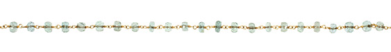 Aquamarine Faceted Rondelle Gold (plated) Bead Chain