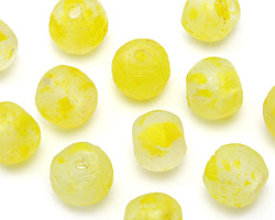 African Recycled Glass Clear w/ Lemon Zest Flecks Tumbled Round 12-16mm