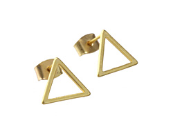 Satin Hamilton Gold (Plated) 12mm Open Triangle Post Earring w/Back