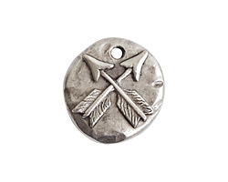 Nunn Design Antique Silver (plated) Organic Round Crossed Arrow Charm 17x19mm