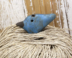 MAKUstudio Raku Blue Bird Focal Bead (piece #9) 35x18mm
