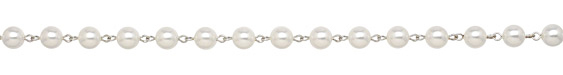 Czech Glass White Pearl on Silver (plated) Bead Chain