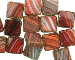 Czech Glass Vintage Christmas Square 10mm