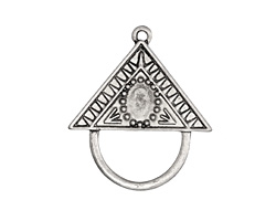Zola Elements Antique Silver (plated) Decorative Triangle Bezel Charm Holder Focal 34x30