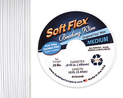 "Soft Flex White Quartz .019"" (Medium) 49 Strand Wire 10ft."
