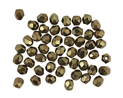 Czech Fire Polished Glass Metallic Green Round 3mm
