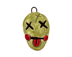 Earthenwood Studio Ceramic Spookyhead Zombie Pendant 16x27mm