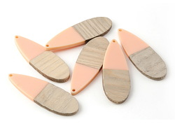 Wood & Angel Pink Resin Long Teardrop Focal 19x58mm