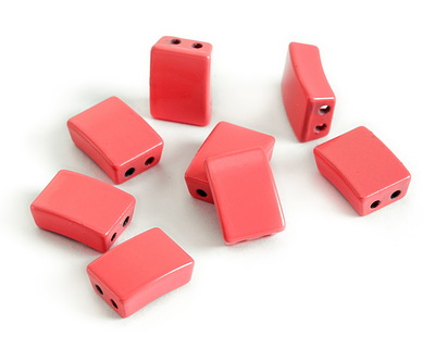 Coral Pink Enamel 2-Hole Tile Rectangle Bead 12x8mm