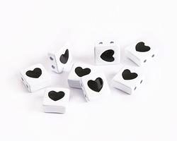 White Enamel 2-Hole Tile Square Bead w/ Heart 8mm