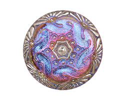 Czech Glass Electric Purple w/ Metallic Whirlpool Button 41mm