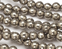Golden Pyrite (silver tone) Faceted Round (Large Hole) 8mm