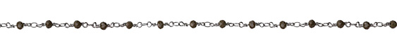 Chocolate Crystal 4mm Antique Silver (plated) Bead Chain