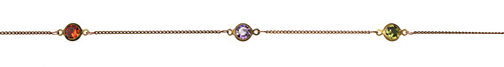 Zola Elements Jewel Tone CZ Bezel Cut Round Link & Tiny Curb Brass Chain