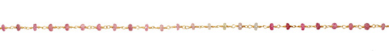 Pink Sapphire Faceted Rondelle Gold (plated) Bead Chain
