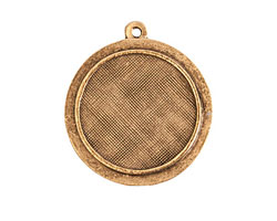 Nunn Design Antique Gold (plated) Raised Circle Pendant 26x29mm