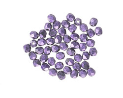 Czech Fire Polished Glass Purple Metallic Suede Round 3mm