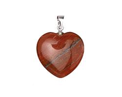 Red Jasper Heart Pendant w/ Silver (plated) Bail 20mm