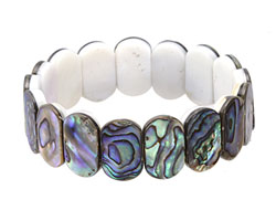 "Abalone 2-Hole Side Drilled Oval 7.5"" Stretch Bracelet 11-12x18-19mm"