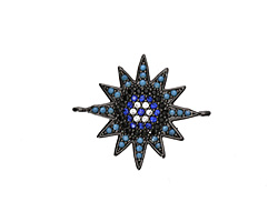 Storm Mix Pave CZ Gunmetal (plated) Starburst Focal Link 23x19mm