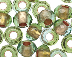 Czech Glass Olive Lined Large Hole Fire Polished Rondelle 8x12mm