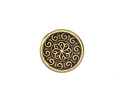 Antique Brass (plated) Scrolling Waves Button 16mm