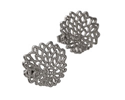Satin Rhodium (plated) Chrysanthemum Ear Post & Back 20mm