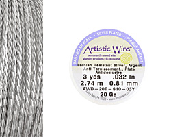 Twisted Artistic Wire Tarnish Resistant Silver 20 gauge, 3 yards
