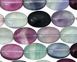 Rainbow Fluorite Flat Oval 14x10mm