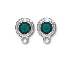 TierraCast Rhodium (plated) Stepped Bezel Ear Post w/ Emerald Crystal 12x17mm