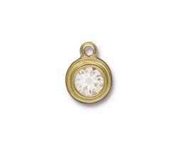 TierraCast Gold (plated) Stepped Bezel Drop w/ Crystal 12x17mm