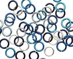 Ocean Mix Enameled Copper Round Jump Ring 6.5mm, 18 gauge