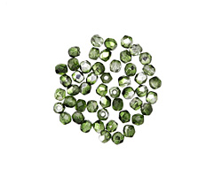 Czech Fire Polished Glass Mirror Fern Green Round 2mm