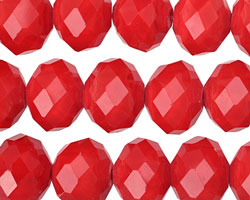 Coral Red Crystal Faceted Rondelle 14mm