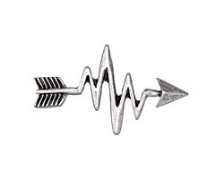 Zola Elements Antique Silver (plated) Heartbeat Arrow 3mm Flat Cord Slide 32x19mm