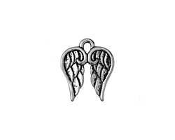 Antique Silver Finish Angel Wings Charm 14x17mm